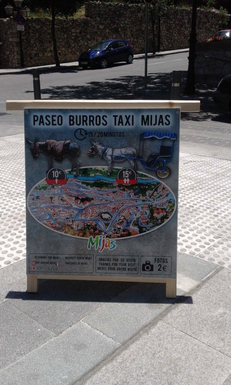 Preisliste für eine Fahrt mit dem Eseltaxi in Mijas Pueblo