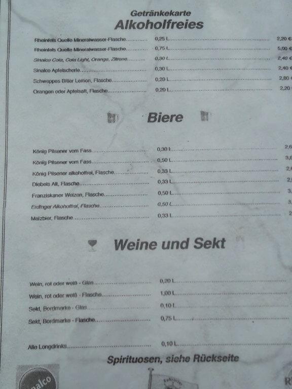 Preisliste Getränke Rheinfels