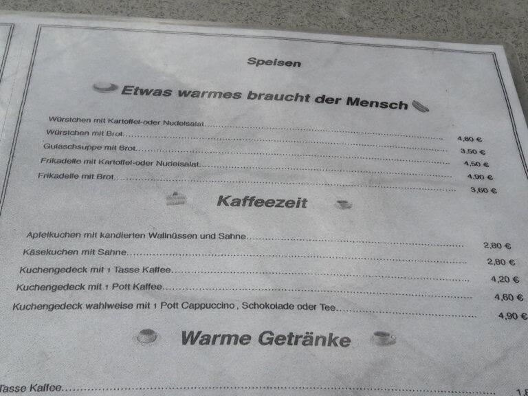 Preisliste Speisen Rheinfels