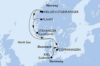 Tourbeschreibung MSC Kreuzfahrt nordische Fjorde